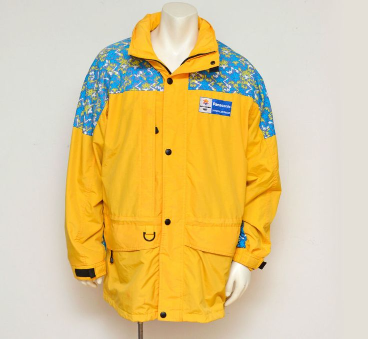 Salt Lake City Olympics Panasonic Staff Jacket Winter Ski Jacket Yellow Size L