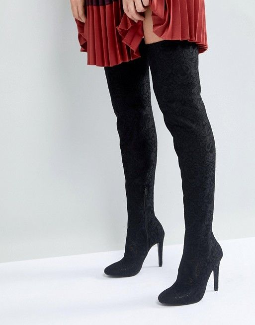 45dd22e80d5 Call It Spring Black Over the Knee Boots in 2019 | ASOS - Boots ...