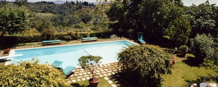 View of the pool at Il Saliceto, Tuscany.