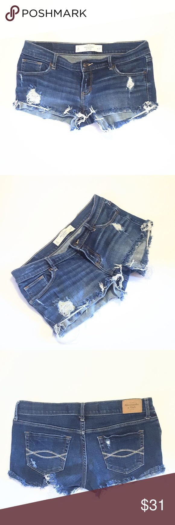 """Abercrombie & Fitch Ripped Denim Cutoff Shorts Excellent condition overall with some pilling on the inner pockets and around label. Company distressed and cut off. 99% cotton, 1% elastane.  Waist approx 14 7/8"""" across when flat, rise 6 1/4"""", inseam 2 1/4"""". All measurements approximate. Abercrombie & Fitch Shorts Jean Shorts"""