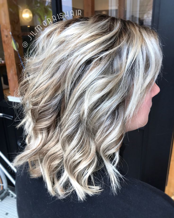 Icy white balayage blonde highlights with an ashy shadow root & lowlight, long bob haircut