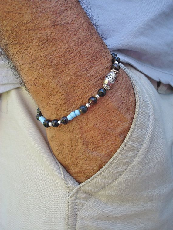 Men's Minimalist Bracelet with Semi Precious Stones by tocijewelry, $38.00