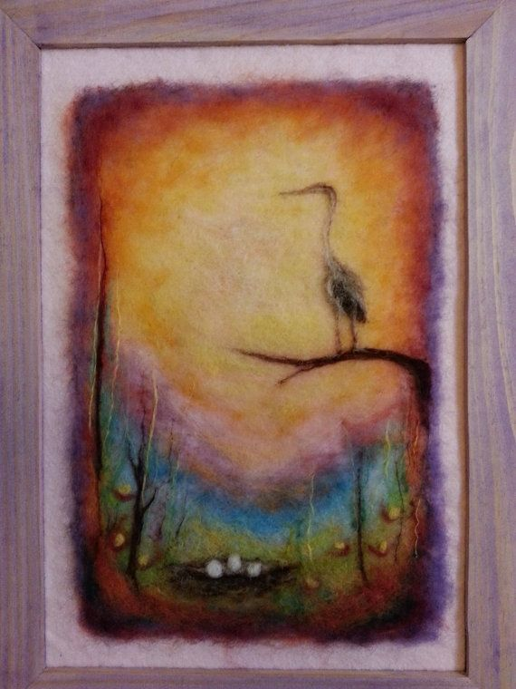 Wool painting The heron large size by AdiCeramicsAndArt on Etsy, $65.00