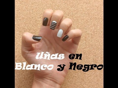 Uñas Blanco Y Negro - YouTube