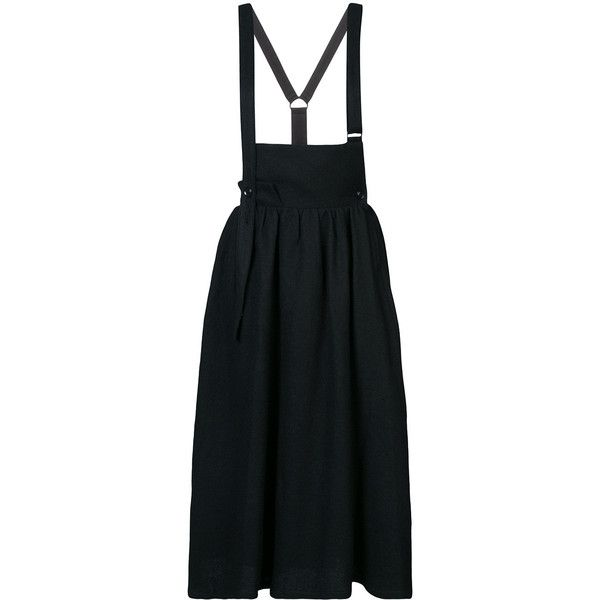 Y's suspender skirt (¥102,415) ❤ liked on Polyvore featuring skirts, black, wool skirt and woolen skirt