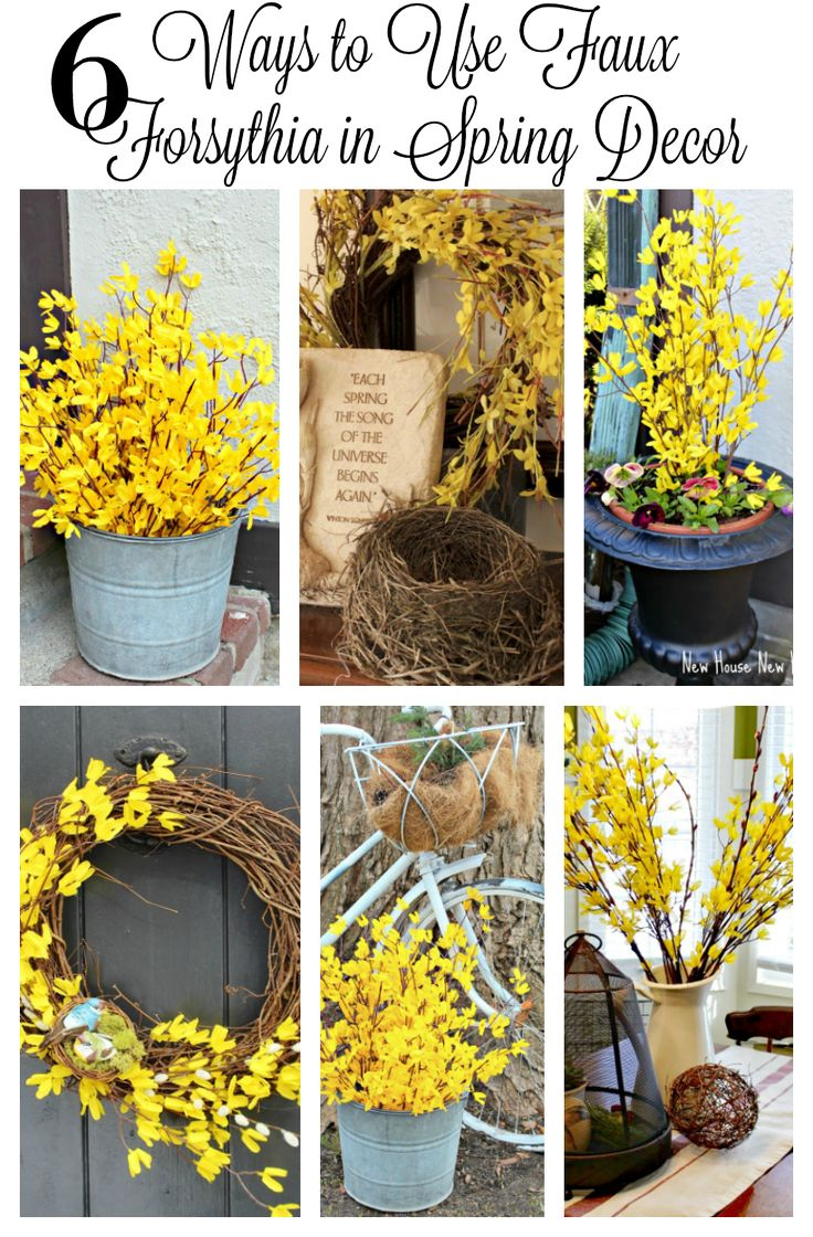 You don't have to wait till forsythia blooms to use it in your spring decor. Faux forsythia branches are readily available for diy projects like a wreath or an outdoor arrangement. Spring decor ideas for your home. www.newhousenewhomenewlife.com