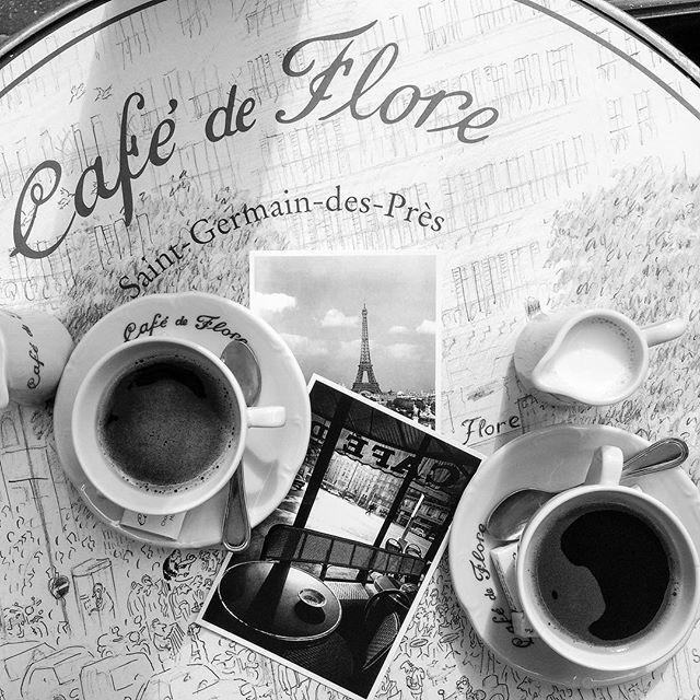 Parisian cafe scene at cafe de flore...
