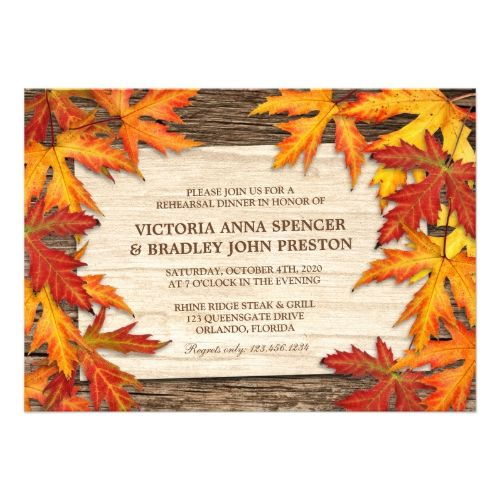 Fall Rehearsal Dinner Invitations With Leaves