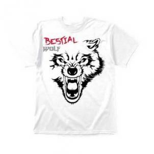 Camiseta Bestial Wolf Blanca Impact Varias Tallas