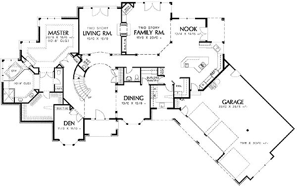 Angled Garage and Curved Staircase - 69366AM | Architectural Designs - House Plans