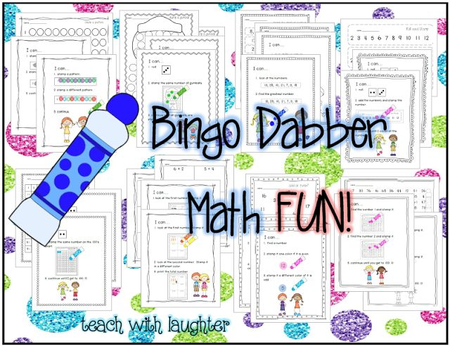 Bingo Dabber Math FUN!  8 math stations ready to add to your math tubs.  There is a color and black and white option.