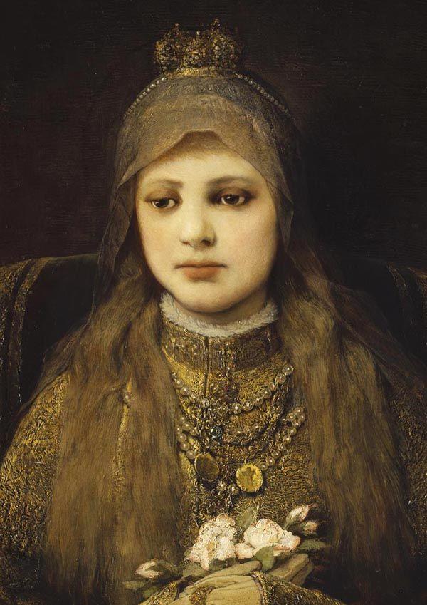 """jaded-mandarin: """" Gabriel von Max. Portrait of Heilige Elisabeth von Thüringen, 19th Century. """" http://youtu.be/CA9haE0Elhw"""