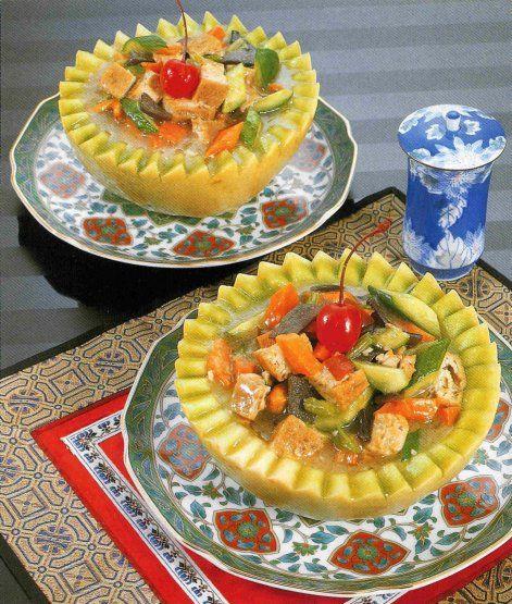 verruuukuuuluuk gevulde meloen met vegetarisch rijstgerecht