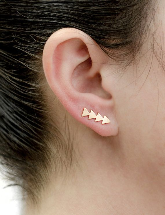 Yellow Gold Triangle Ear Cuffs, Yellow Gold Matte Ear Climber, Geometric Ear Wrap, Minimalist,Gold Ear Pin, Hand Made, Gift for Mom,EC007