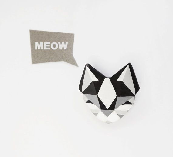 Cat of the Day <3 Cat Brooch  Black and White Geometric Wooden Pin by SketchInc, £12.50