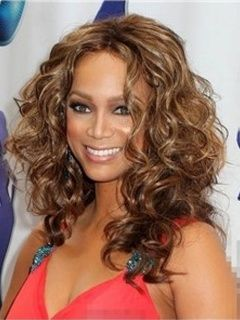 Tyra Banks Deluxe Polished Long Curly Lace Front Wig 100% Real Human Hair About 18 Inches Item # W5994 Original Price: $874.00 Latest Price: $268.39