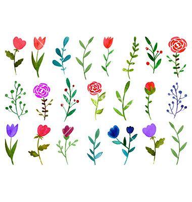 Set of watercolor doodle flowers vector - by Julia_Henze on VectorStock®