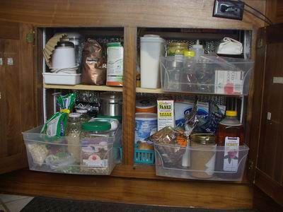 Rv storage fulltimers pass thru bins and tots for Extra kitchen storage ideas