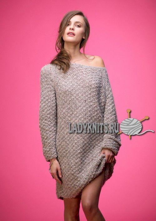 Вязаное спицами простое платье оверсайз. Описание для размеров от XS до XXL
