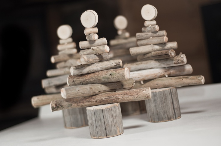 """wooden christmas trees, i could make these as a hanging decoration - from """"i love nature"""""""