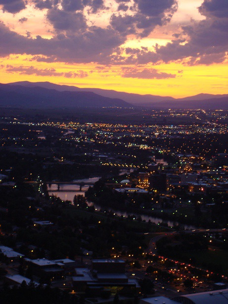 Missoula, MT sunset. The gorgeous city which is home to the University of Montana Grizzlies.