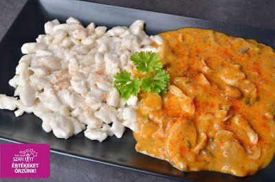 Light Paleo & Vegán Nokedli és Gombapaprikás recept (tejmentes, tojásmentes, gluténmentes, húsmentes, diétás ebéd ötlet)