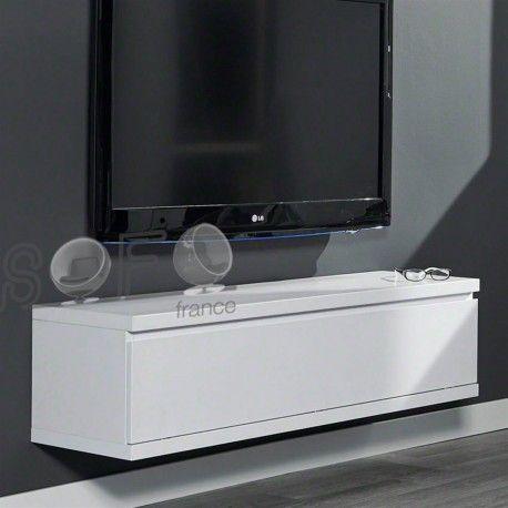 "Meuble TV suspendu - finition laqué blanc mat ""FREDY"""