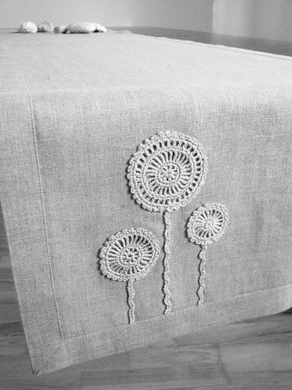 Natural linen table runner decorated with handmade by daiktuteka