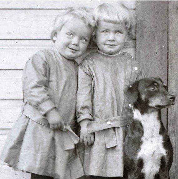 Little Twins on Wooden Porch w Dog Vintage Photo Print