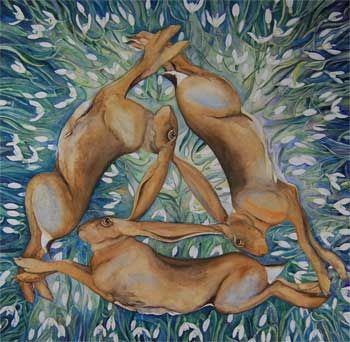 three hares running in a circle, watercolour by Jackie Morris. Click on the image to see a larger version.
