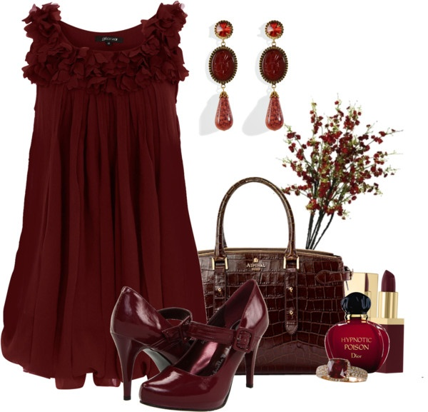 Burgandy Wine Dressy Outfit