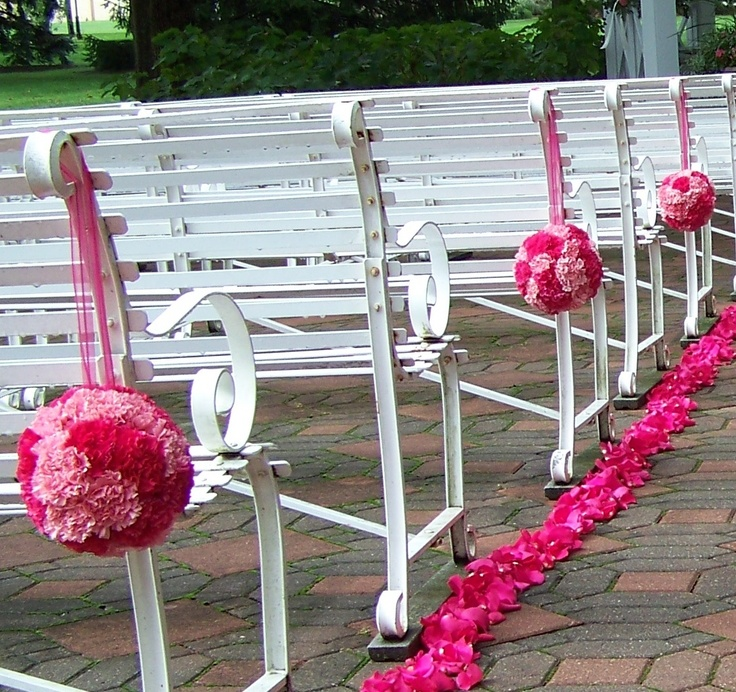 Wedding Aisle Flowers: Pink Carnation Balls For Wedding Aisle Flowers