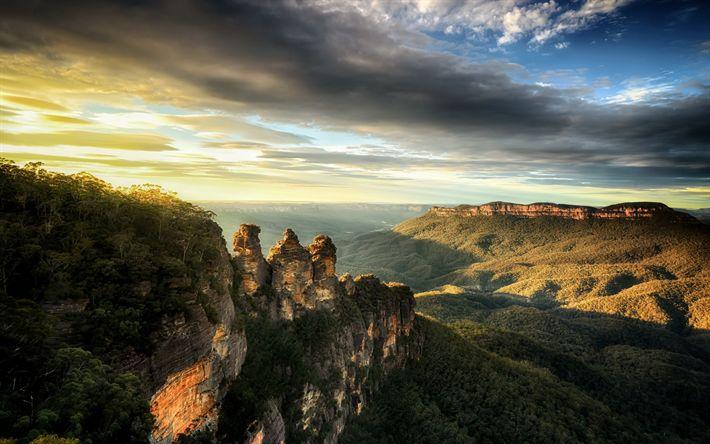 Download imagens Blue Mountain, Nova Gales Do Sul, nascer do sol, vale da montanha, floresta, montanhas, Austrália