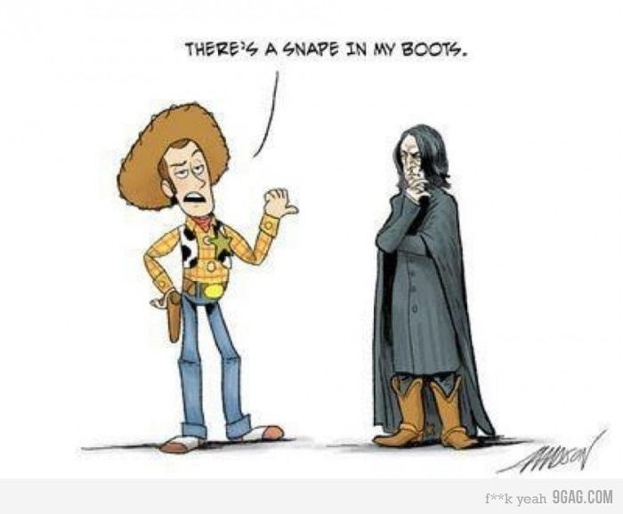 Funny: Harry Potter Jokes, Crossover, Snake Snape, Favorite Movies, Harry Potter Humor, Meets Snape, Childrens Movie, Can'T Stop Laughing, Childhood Loves