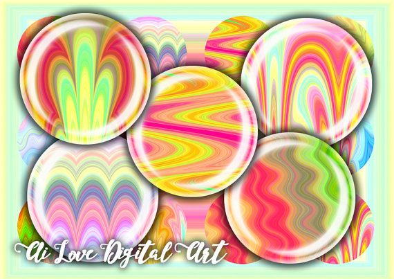 Instant download digital collage sheets round 10mm 12mm