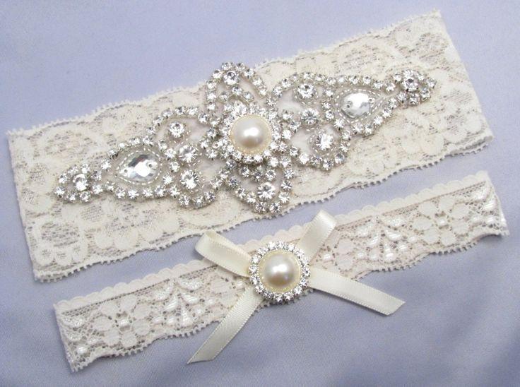 Ivory Bridal Garter Set Crystal Rhinestone Pearl Keepsake Toss Garters White Stretch Lace Wedding Love Forever