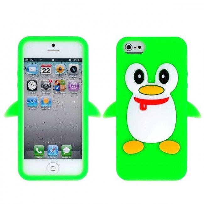 Iloinen Pingviini (Vihreä) iPhone 5 Silikonisuojus - http://lux-case.fi/iloinen-pingviini-vihrea-iphone-5-silikonisuojus.html