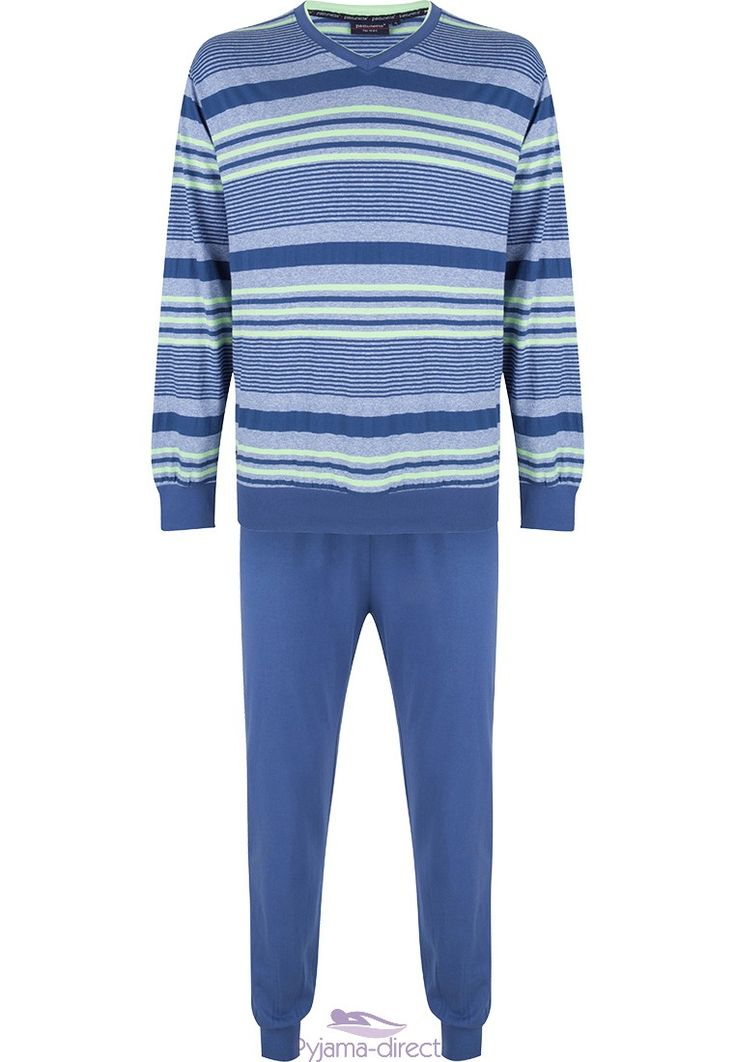 You can be relaxed & a little sporty looking this summer in this blue modern mixed-stripes long sleeved cotton pyjama set with cuffs