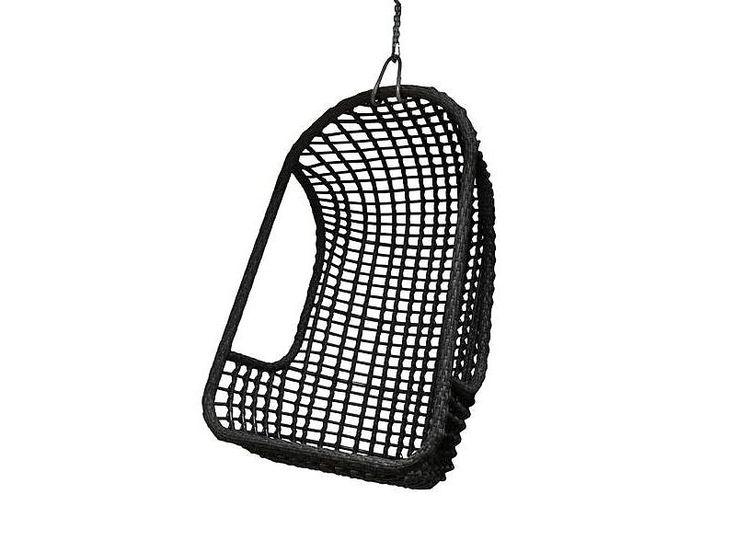 HK-Living Utendørs hengende stol svart