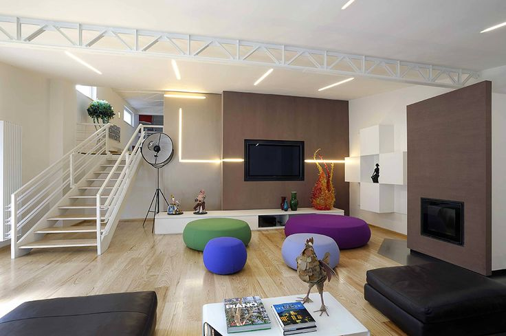 The apartment is in a former factory building in Rome