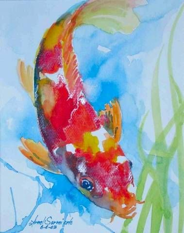 61 best watercolor koi images on pinterest water colors for Koi fish in water