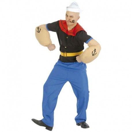 Disfraces Disney hombre | Disfraz de Popeye. Contiene pantalón, camiseta con capelina roja, manguitos musculosos y cinturon. Incluye gorra blanca. Talla M/L. 23,95€ #popeye #disfrazpopeye #disfraz #disney #disfraces #disfrazdisney