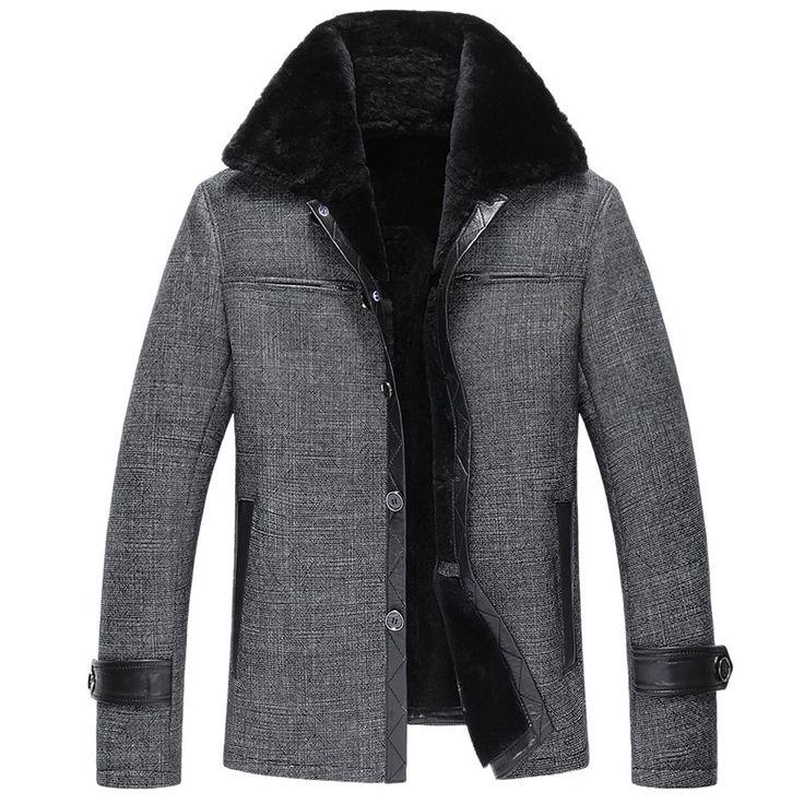 Mens Fur Coat Men's Shearling Coat Casual Mens Leather Jacket Fur Coats Men Genuine Leather Mens Jacket