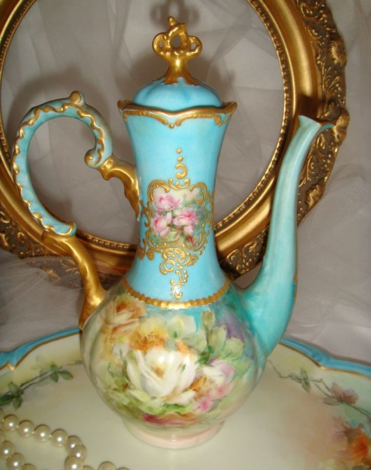 Limoges - Hand Painted Chocolate Pot