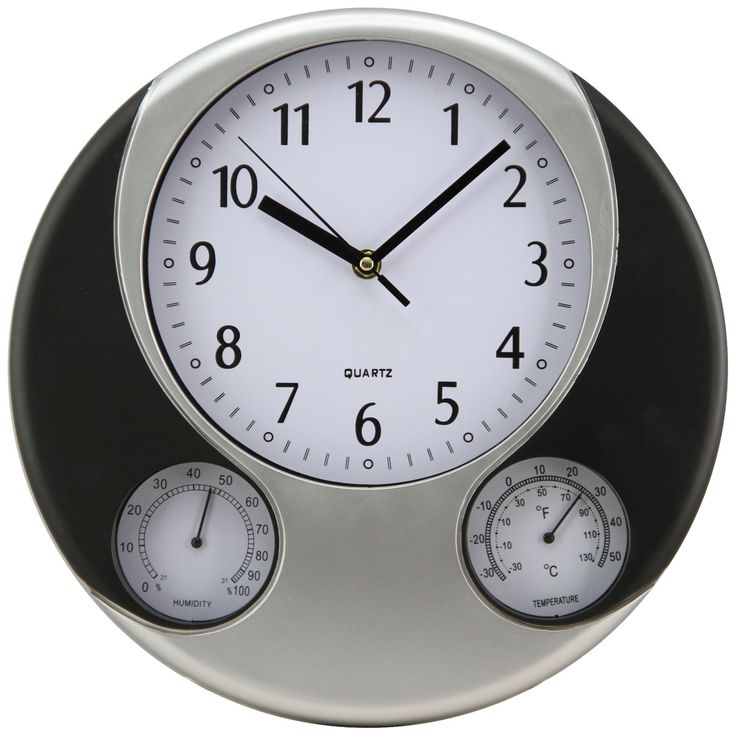 """Tkf 12.6"""" Black And Silver Wall Clock With Thermometer Hygrometer"""