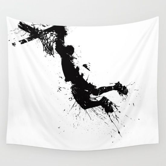 Awesome wall tapestry of dunking basketballer. Design by Richard Eijkenbroek. #basketball #dunk #slamdunk #sport