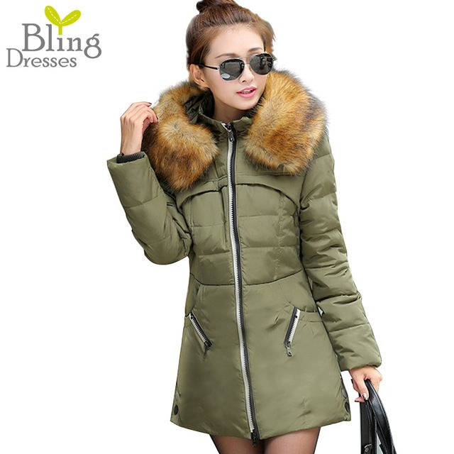 Winter Coats for Women 2015 Luxury Large Faux Fur Collar Outdoor Parkas Slim Hooded Long Down Cotton Coat Jacket High Quality