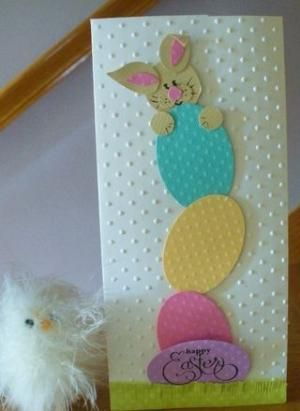 handmade Easter card ... tall and narrow Stampin' Up! Bunny Punch Art by Dee Slater ... tower of eggs made from oval die cuts with embossing folder dots ... by bethany