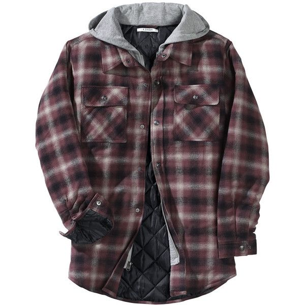 Men's Hooded Flannel Shirt Jacket Tan Jackets (£38) ❤ liked on Polyvore featuring men's fashion, men's clothing, men's outerwear, men's jackets, tan, mens hooded flannel jacket, mens tan jacket, mens flannel jacket and mens hooded jackets