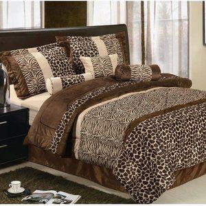 LaCozee Safari Micro Fur Bed in a Bag Set in Brown